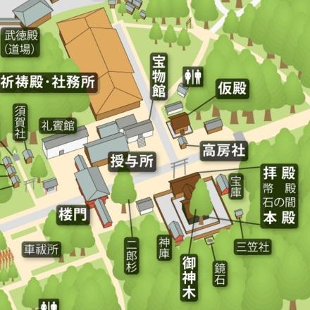 地図拝殿付近